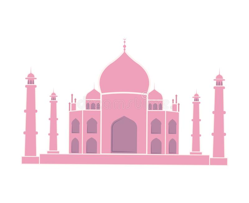 Taj Mahal Indian Landmark Travel Sticker Isolated vector illustration