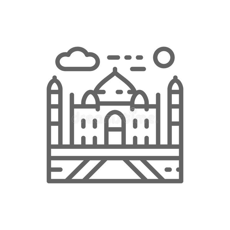 Taj Mahal Indien, gr?nsm?rkelinje symbol vektor illustrationer