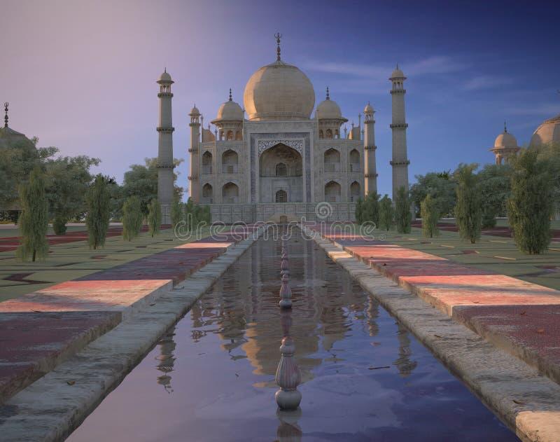 Taj Mahal Indien solnedgång vektor illustrationer