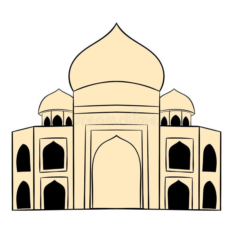 Taj Mahal Indien symbolstecknad film stock illustrationer