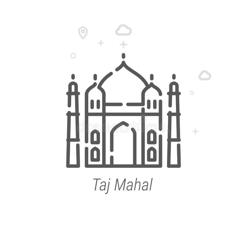Taj Mahal, Indien-Vektor-Linie Ikone, Symbol, Piktogramm, Zeichen Heller abstrakter geometrischer Hintergrund Editable Anschlag stock abbildung