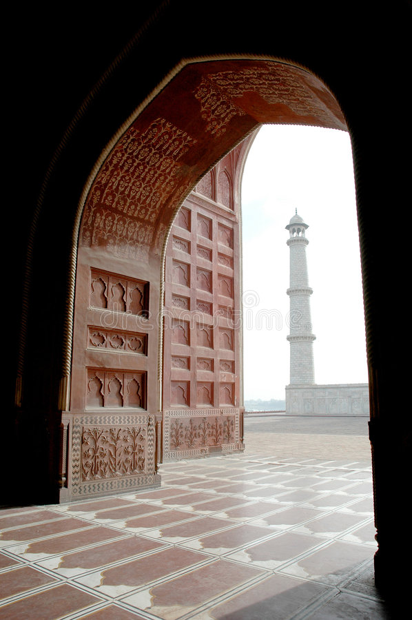 Taj Mahal from inside mosque royalty free stock images