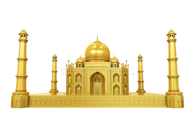 Taj Mahal Isolated dourado ilustração stock
