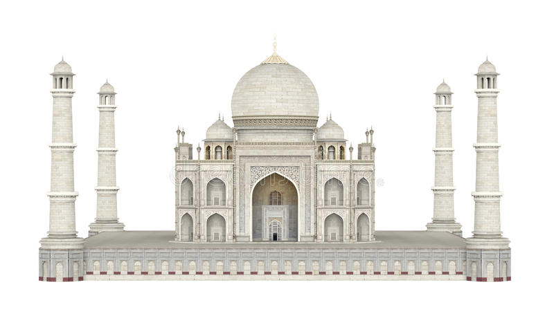 Taj Mahal Isolated. On white background. 3D render royalty free illustration