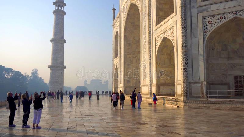 The Taj Mahal is an ivory-white marble mausoleum on the south bank of the Yamuna river in the Indian city of Agra, Uttar Pradesh royalty free stock photos