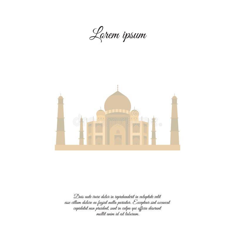 Taj Mahal-kleurenpictogram, teken stock illustratie