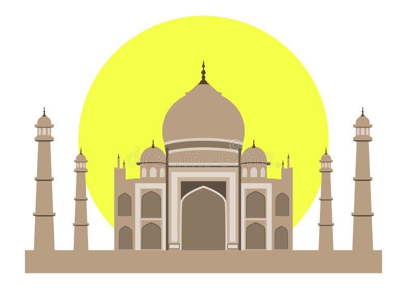 Taj Mahal lägenhetstil Forntida slott i Indien på vit bakgrund vektor illustrationer