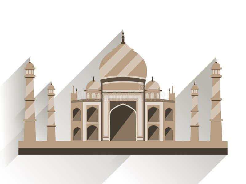Taj Mahal lägenhetstil med lång skugga Den forntida slotten i Indien isolerade på vit bakgrund royaltyfri illustrationer