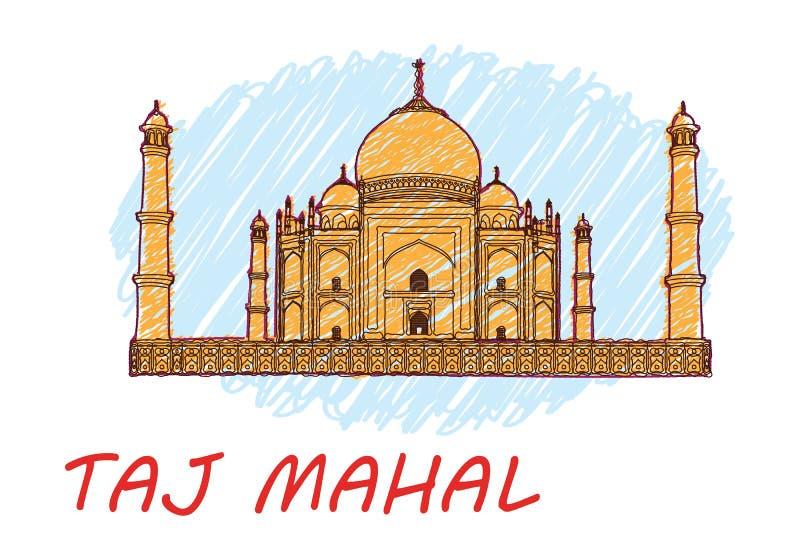 Taj Mahal L'India Tiraggio della mano Vettore Dettaglio molto alto illustrazione vettoriale