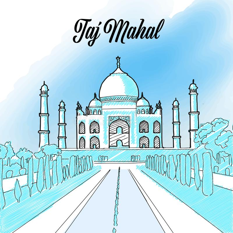 Taj Mahal Landmark Sketch royaltyfri illustrationer