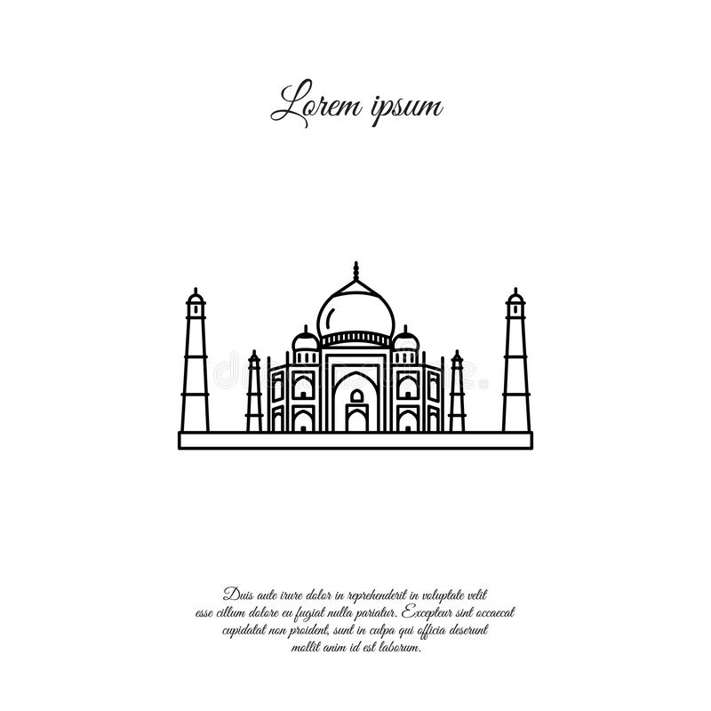 Taj Mahal  line icon, sign royalty free illustration