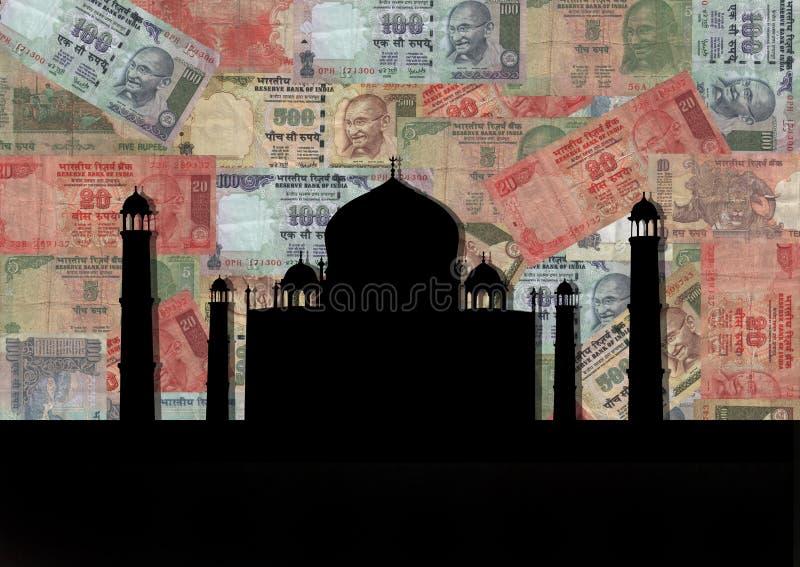 Taj Mahal met Roepies vector illustratie