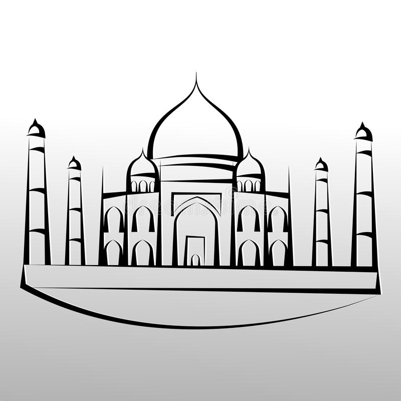 Taj Mahal Minimal Logo Design vektor illustrationer