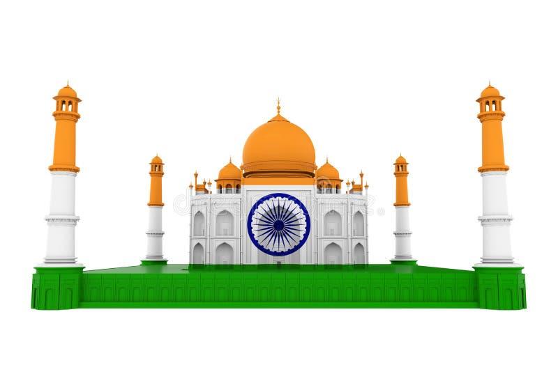 Taj Mahal mit der indischen Flagge lokalisiert lizenzfreie abbildung