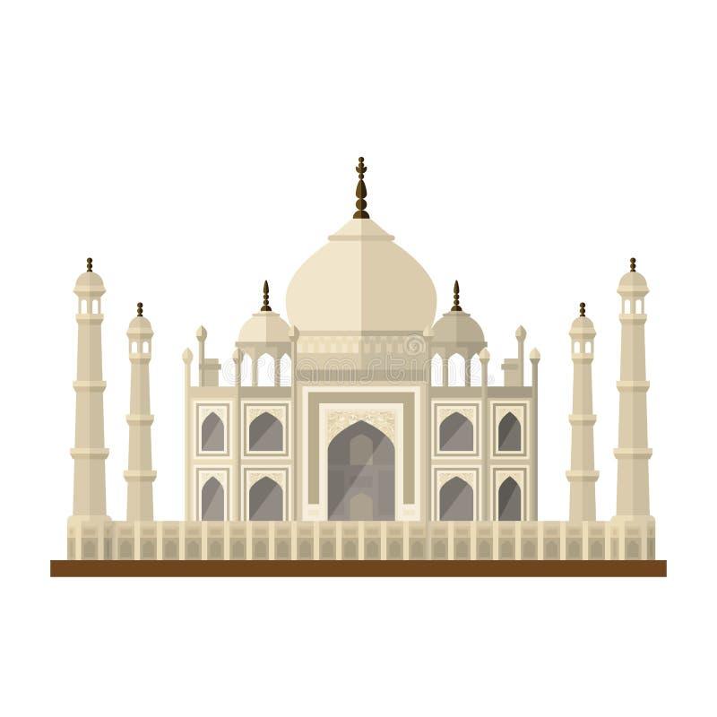 Taj Mahal monument på symbol för vektor för Agra, Indien lägenhetdesign royaltyfri illustrationer