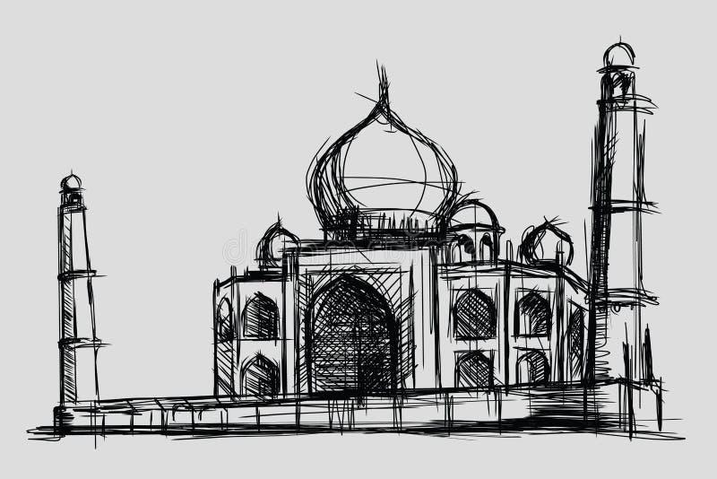 Taj Mahal nakreślenia rysunku ilustracja, zabytek i turystyka budynek w India, meczet w islamu royalty ilustracja