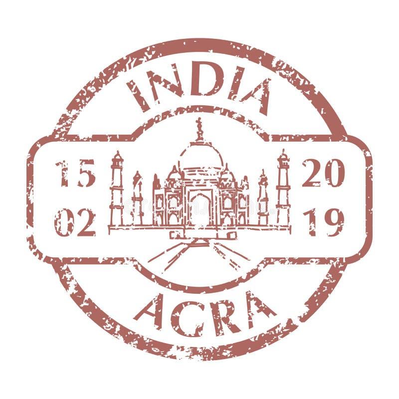 Taj Mahal no selo postal do Grunge ilustração stock