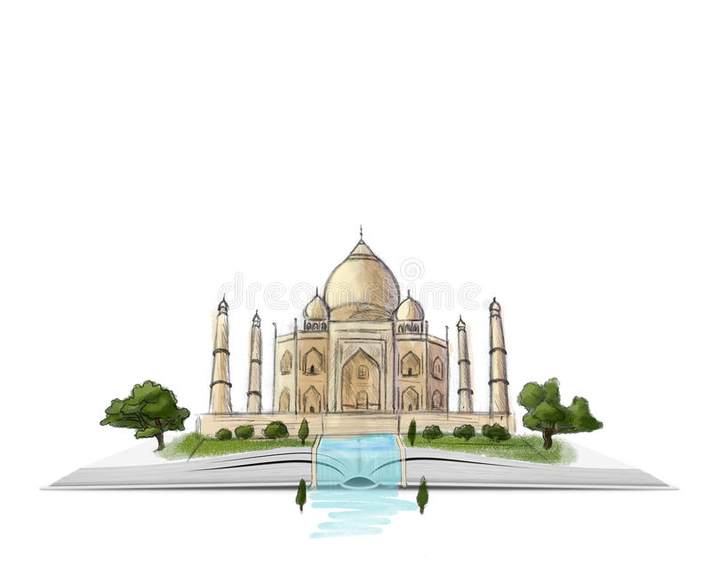 Taj Mahal on an open book hand drawn illustration at white background stock illustration