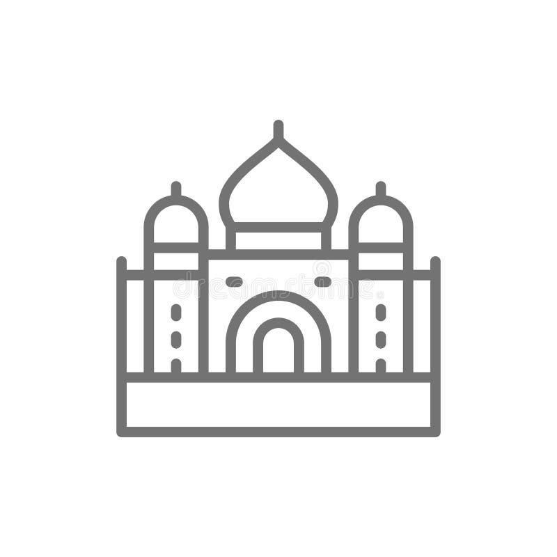 Taj Mahal, oriëntatiepunt van Agra, de lijnpictogram van India royalty-vrije illustratie