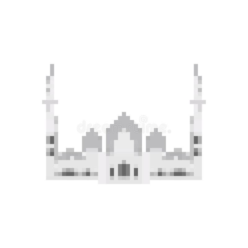 Taj Mahal pixel art. Agra landmark 8 bit. India showplace Pixelate 16bit. Old game computer graphics style royalty free illustration