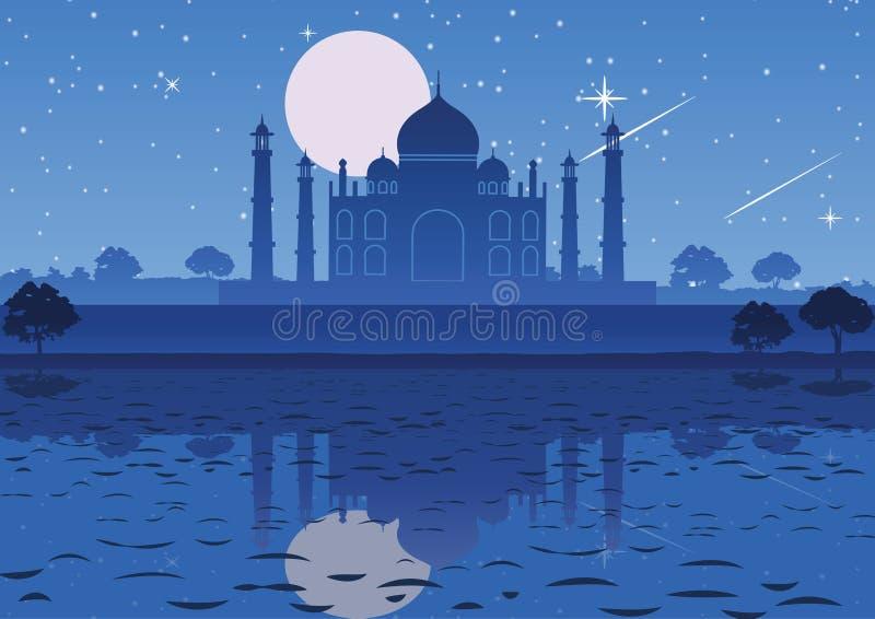 Taj Mahal punkt zwrotny Inadia przy nocy księżyc w pełni gwiazdą basztowy backg royalty ilustracja