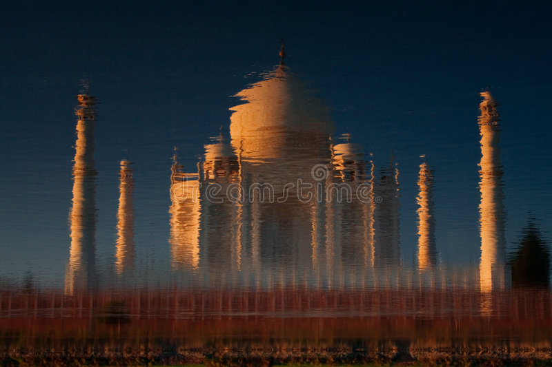 Taj Mahal reflected in river royalty free stock photography