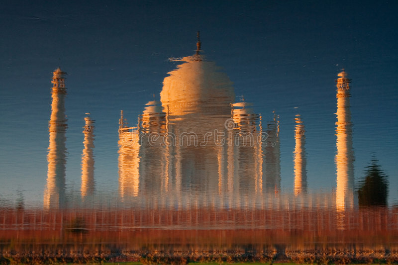 Taj Mahal reflected in river stock image