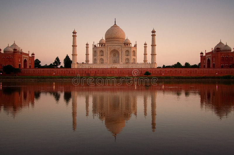 Taj Mahal reflected in river stock photo