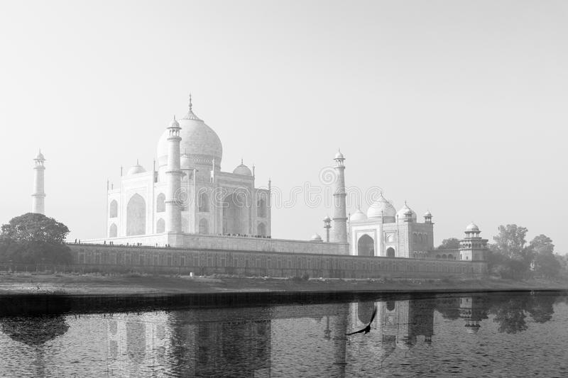 Taj Mahal reflected in Yamuna River in black and white. royalty free stock photos