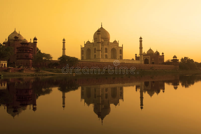 Taj Mahal reflection in the yamuna river. royalty free stock image