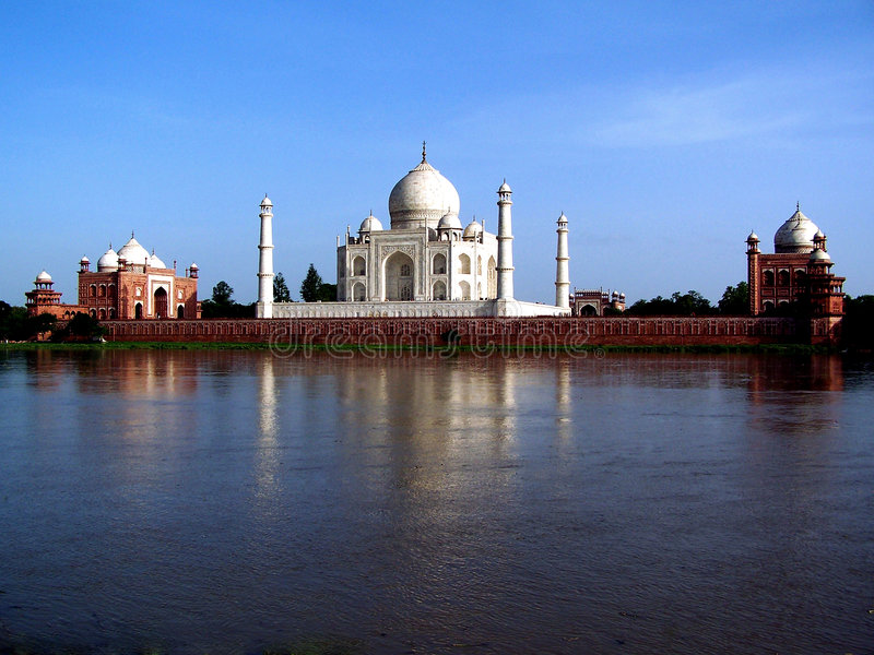 Taj Mahal from the river. The world famous Taj Mahal when viewed from across the river Yamuna royalty free stock photography