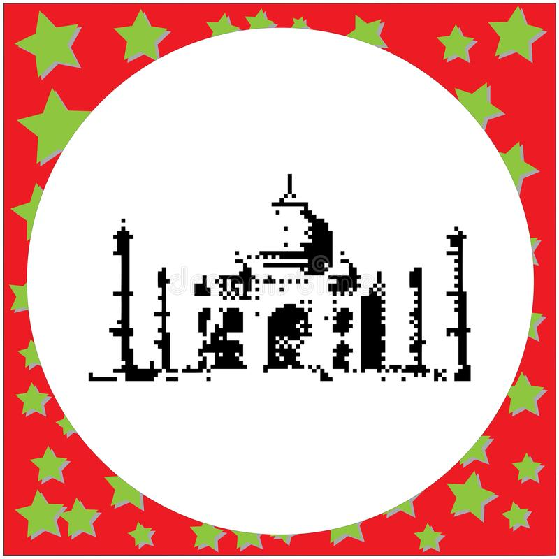 Taj Mahal-schwarze 8-Bit-Vektorillustration lokalisiert auf rundem weißem Hintergrund mit Sternen lizenzfreie abbildung