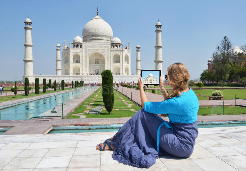 Taj Mahal on the screen of a tablet royalty free stock photo