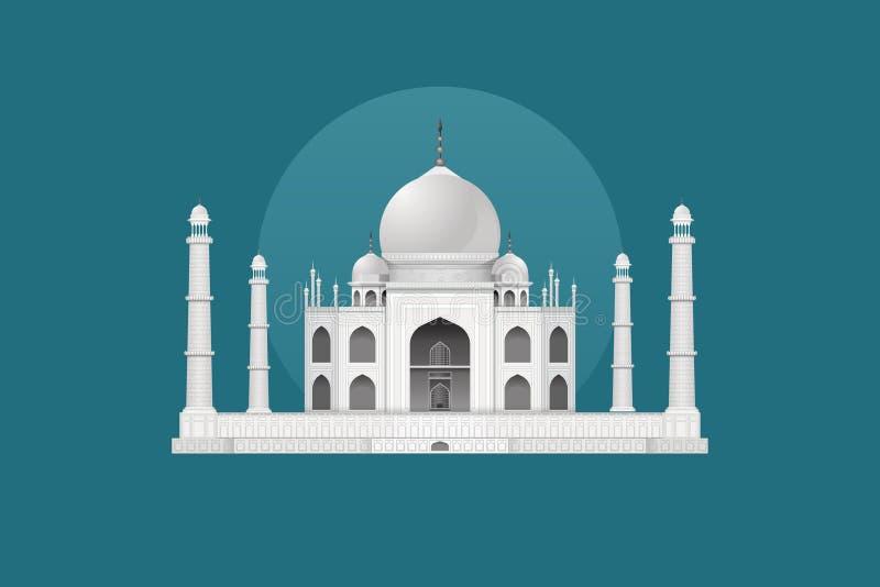 Taj Mahal - Historical Landmark of India Vector Design. Taj Mahal situated in India one of the most elegant and beautiful Historical Landmark Architectural royalty free illustration