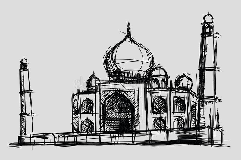 Taj Mahal sketch drawing illustration, monument and tourism building in India, mosque in Islam royalty free illustration