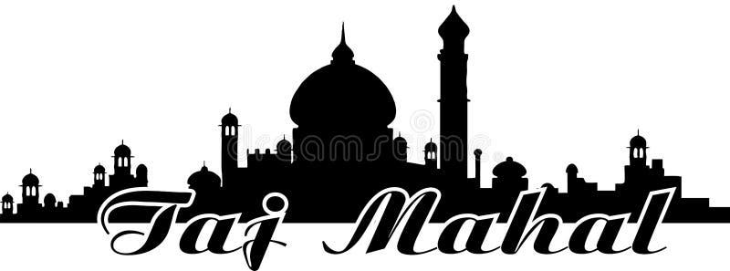 Taj Mahal Skyline Vector. India stock illustration