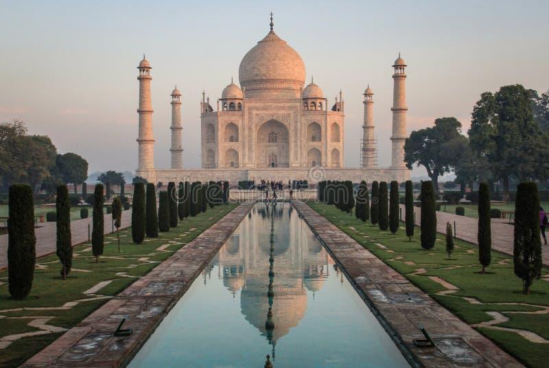 Taj Mahal am Sonnenaufgang, Agra, Uttar Pradesh, Indien stockfotos