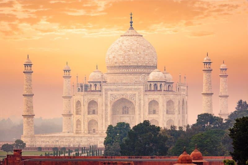 Taj Mahal sul tramonto di alba, Agra, India fotografia stock