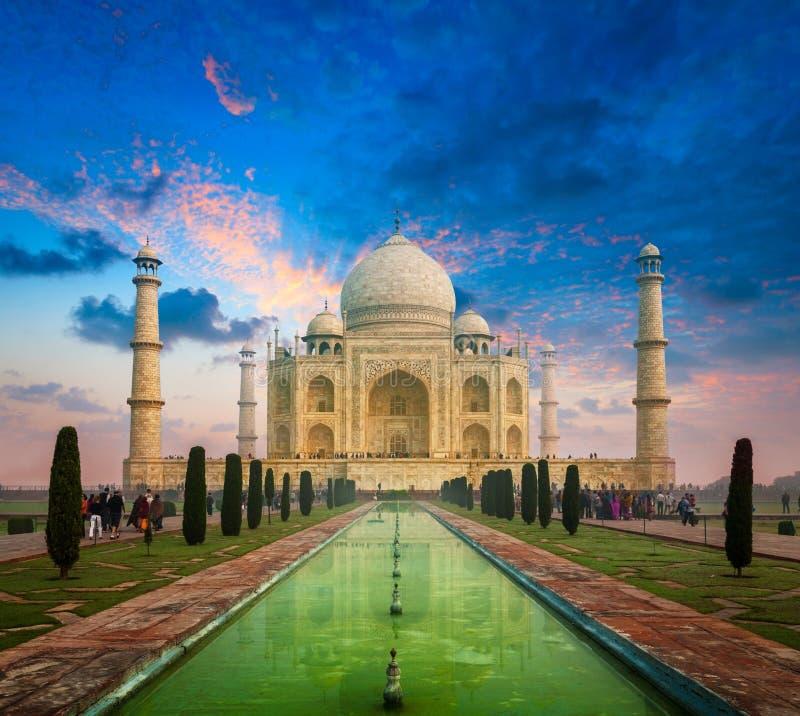 Taj Mahal sul tramonto di alba, Agra, India immagine stock