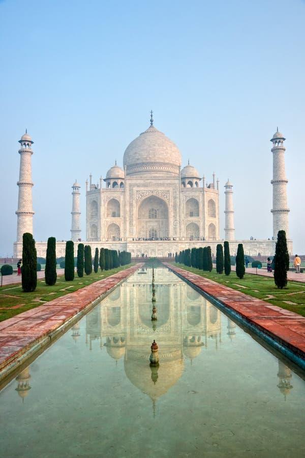 Taj Mahal at sunrise, Agra, Uttar Pradesh, India. Panoramic view of Taj Mahal at sunrise, Agra, Uttar Pradesh, India royalty free stock images