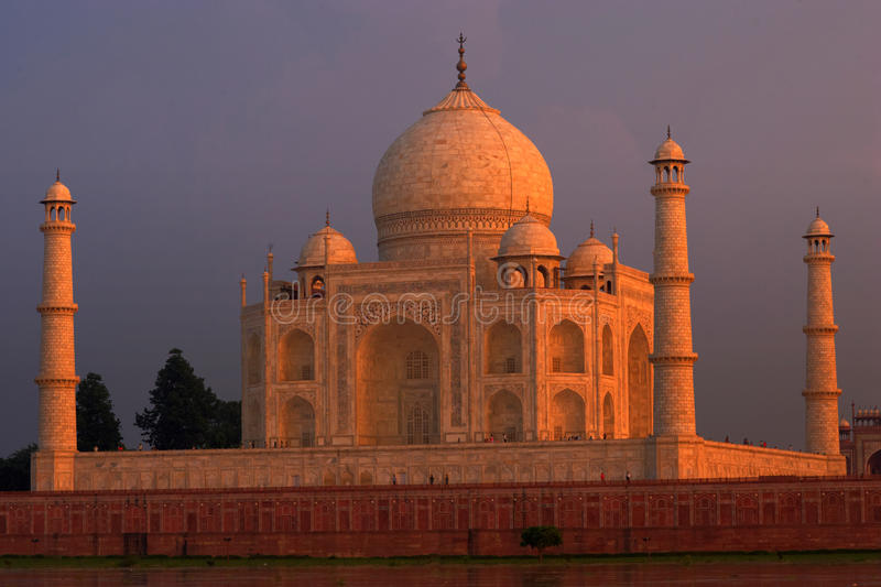 Taj Mahal at sunset. The Great Taj Mahal palace, India royalty free stock image
