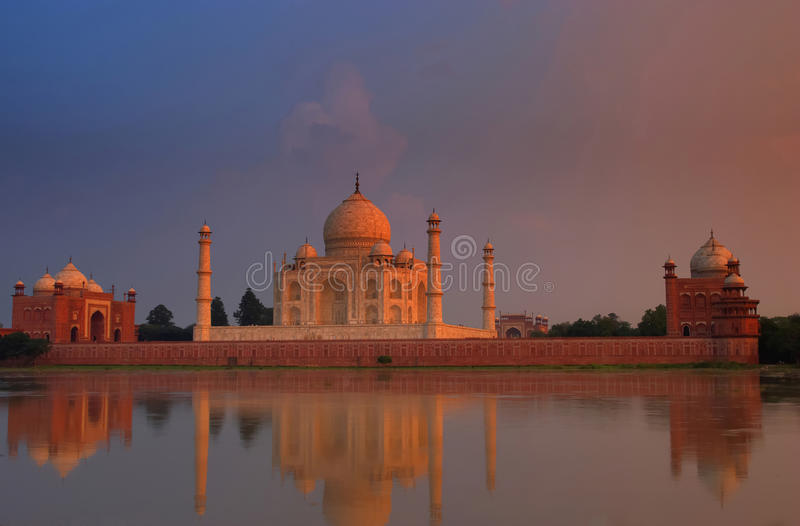 Taj Mahal at sunset. The Great Taj Mahal palace, India royalty free stock photography