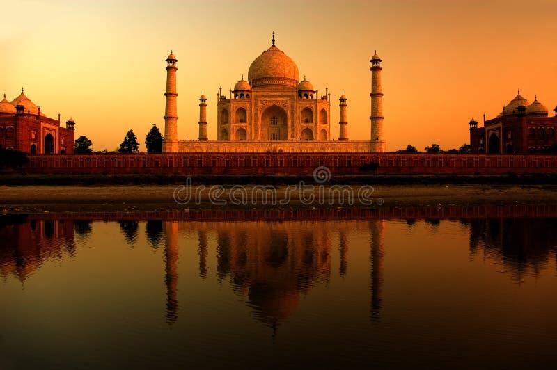Taj mahal during sunset stock photos