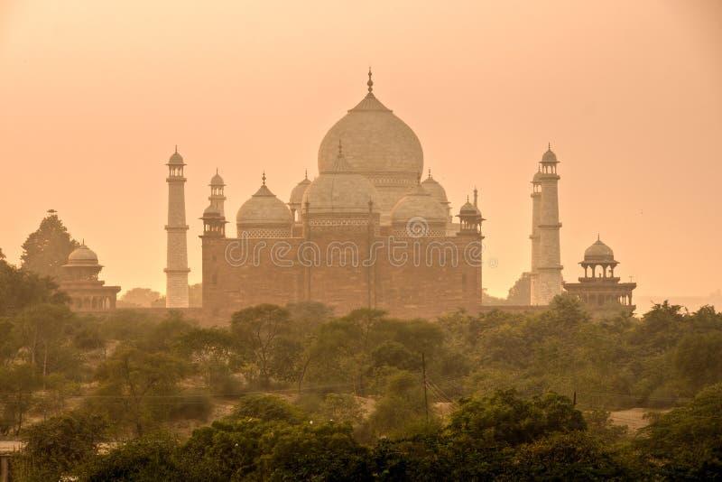 Taj Mahal at sunset, Agra, Uttar Pradesh, India. stock photos