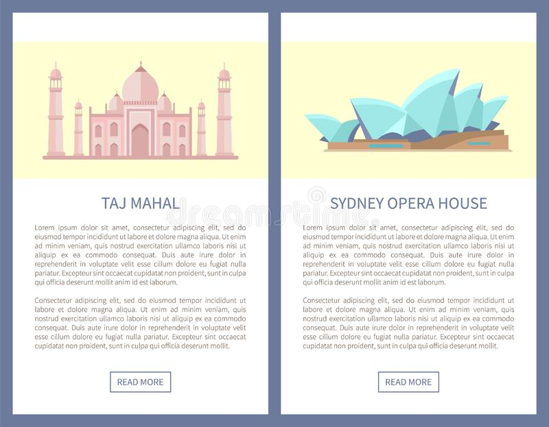 Taj Mahal Sydney Opera House vektorillustration royaltyfri illustrationer