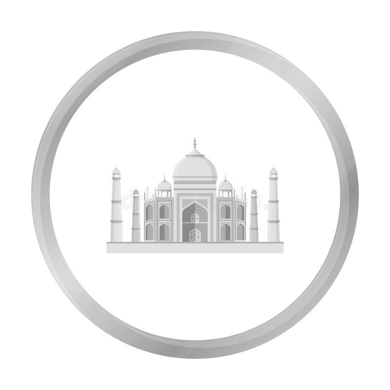 Taj Mahal symbol i monokrom stil som isoleras på vit bakgrund Illustration för vektor för Indien symbolmateriel royaltyfri illustrationer