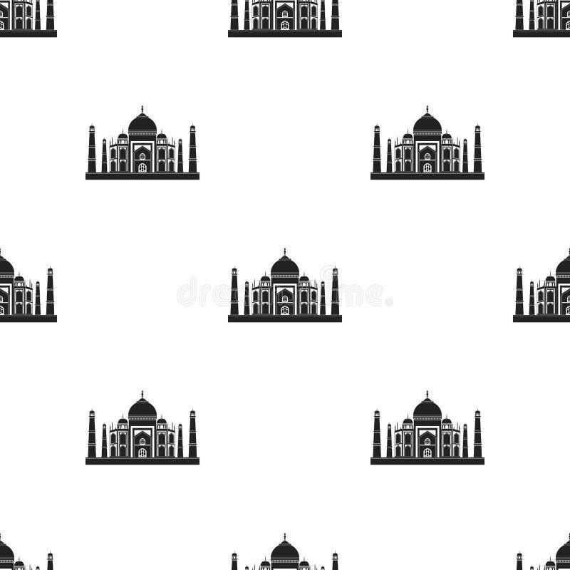 Taj Mahal symbol i svart stil som isoleras på vit bakgrund Illustration för vektor för Indien modellmateriel vektor illustrationer
