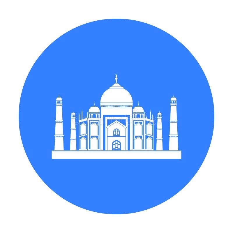 Taj Mahal symbol i svart stil som isoleras på vit bakgrund Illustration för vektor för Indien symbolmateriel royaltyfri illustrationer