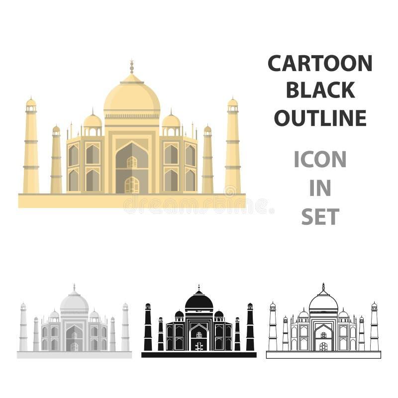 Taj Mahal symbol i tecknad filmstil som isoleras på vit bakgrund Illustration för vektor för Indien symbolmateriel stock illustrationer