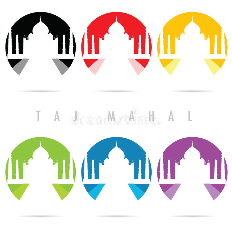 Taj Mahal symbolsuppsättning i färgkonstillustration royaltyfri illustrationer